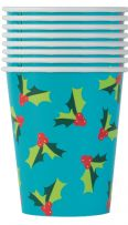 Holly Santa Paper Cups (8)